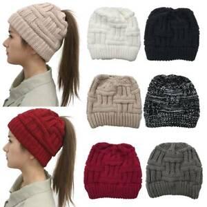 Ladies Soft Plain Colour Knitted Hat Womens Winter Warm Pony Tail Ski Cap