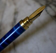BEAU STYLO PLUME S.T. DUPONT GATSBY LAQUE DE CHINE BLEUE ANNELEE - PLUME OR 18 K