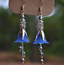 BLUE LUCITE FLOWER METALLIC CZECH GLASS SILVER CRYSTAL BALL LONG EARRINGS