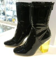 New - CHRISTIAN DIOR Latex Patent Leather Transparent Heel Ankle Boots Noir 40