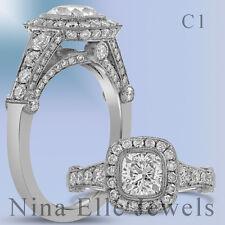 1.70CT CUSHION ANTIQUE DIAMOND ENGAGEMENT RING WITH PAVE DIAMONDS C1