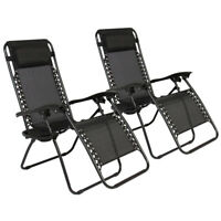 Zero Gravity Chairs Case Of 2 Lounge Patio Chairs Outdoor Yard Beach Black