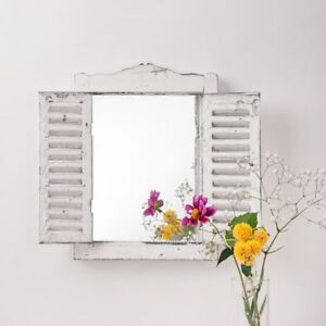 Traditional Shutter Mirror Wall Mounted Vintage Mirror Distressed French Country