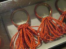 New listing Nwt Kim Seybert Box of 4 Red Beaded Napkin Rings Table Decor