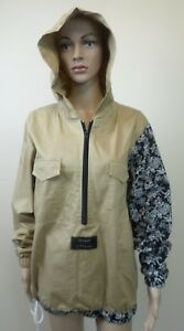 Rare Chinga Winbreaker Hoodie Jacket Tan & Black Floral Sleeve - Unisex Size M