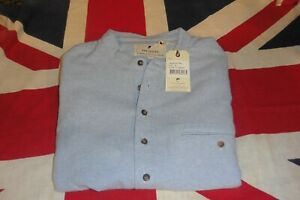 Classic Collarless Brushed Cotton Grandfather shirt in pale blue by Lee Valley