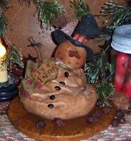 Primitive Patti's Ratties Melting Frosty Snowman Ornie Doll Paper Pattern 388