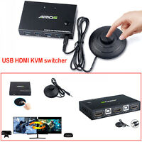 2 Ports 4K USB HDMI KVM Umschalter Box Konverter für 2 PC Keyboard Mouse Drucker