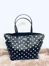 Kate Spade Wellesley Polka Dot Vinyl Adaira Baby Bag, Black, Large, MSRP $329