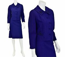 1940's Vintage Women's 8 or M Indigo Blue Embellished Skirt Suit Beaded
