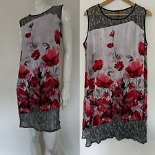 Motto Australia sz 16 18 floral black white knit Stretch Sleeveless Dress AS NEW