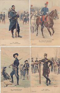 Armée française Uniformes 1910  LALAUZE 4 CARTES chasseur alpin
