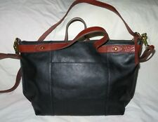 Fossil Black Leather Satchel Crossbody Messenger NWOT