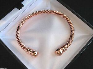 PREMIUM MAGNETIC PURE COPPER /ROSE GOLD TORQUE BANGLE/BRACELET ARTHRITIS RELIEF