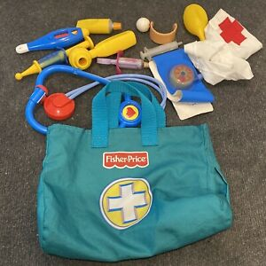 Fisher Price Medical Kit Docotrs Fabric Bag + Pieces Play Set