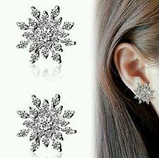 #1019 Ladies Crystal Snow Flake Bijoux Statement Stud Earrings