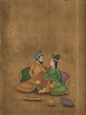Indian Erotic Painting Mogul Miniature Hand Painted Ethnic Art Mughal King Queen