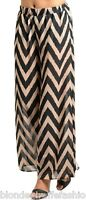 Black/Tan Chevron Wide Leg Long Pants/Palazzo S M L
