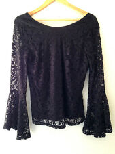 NWT Adrianna Papell Elegant Black Bell Sleeve Knit Lace Wide Neck Blouse Top M