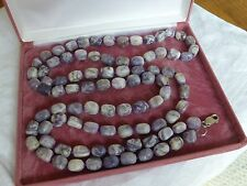 Vintage jewellery purple stone knotted bead necklace 36 inches long silver clasp