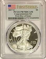 2017 S PROOF SILVER EAGLE PCGS PR70 CONGRATULATIONS SET FIRST DAY ISSUE FLAG