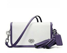 NWT COACH LEGACY Leather Penny Crossbody Swing White/Purple Swingpack Bag NEW