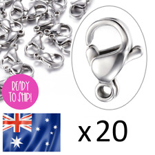 20 NO FADE 10x6mm Stainless Steel Silver Lobster Clasp Hook Finding Parrot Clips