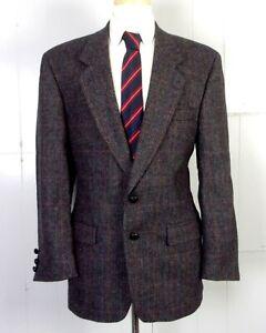 euc Alexander Shields vtg Men's Dark Brown Plaid 100% Wool Tweed Blazer sz 40 R