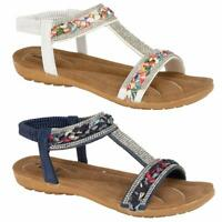 Ladies Flat Low Wedge Sandals Womens New Summer Beach Fashion Holiday Shoes Size