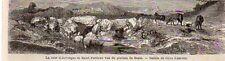 63 LA TOUR D AUVERGNE ET SAINT PARDOUX VUS DU PLATEAU BOZAT IMAGE 1866 OLD PRINT