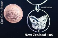 Necklace New Zealand Maori Koruru Mask Cut Coin Shilling Jewelry Pendant