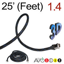25FT Premium High Speed HDMI Cable V1.4, Braided Nylon 1080p 3D ARC 7.6M 26AWG