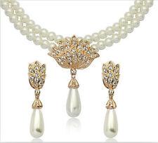 Nuziale Gioielli Set CREMOSO Bianco Perle e Oro Collana Borchie Orecchini S321