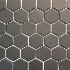 Grey Hexagon Matt Mosaic Wall & Floor Tiles 4.8 x 4.8
