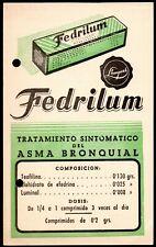 ANTIQUE DRUG STORE ADVERTISING CARD PUBLICITY MEDICINE FEDRILUM