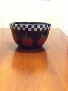 "Boyd's Bears Bearware Pottery Works 2004 Apple Checker Bowl 4"" Round Dish"