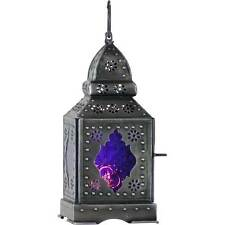 Temple Purple Glass Moroccan Boho Lantern Candle Holder Metal Hanging Decor