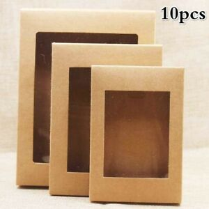 10Pcs DIY Paper Box Cake Packaging with Window Paper for Wedding Home Party