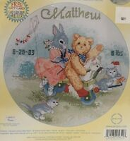 Janlynn Baby Birth Announcement Playful Friends NEW Counted Cross Stitch Kit A1