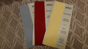3 Vtg NOS SOFBAN Nylon Headband Hair Ties Red,Blue,Yellow 1960's  Lot