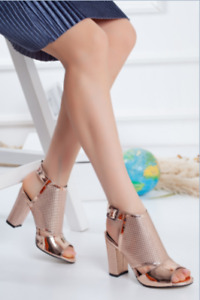 Women's Gold & Platinum Patent Leather Heeled Shoes