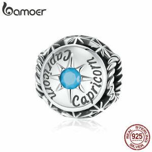 BAMOER European S925 Sterling silver Charms Blue Pavé CZ Capricorn Bead Bracelet