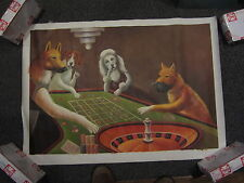 hand painted Oil painting Dogs playing Roulette Wheel  Casino Art poker room