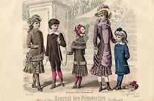 """88/ GRAVURE DE MODE """"  JOURNAL des DEMOISELLES """" 1881 SUPERBES COULEURS !"""