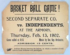 BASKET BALL GAME! Rare Poster from 1902.