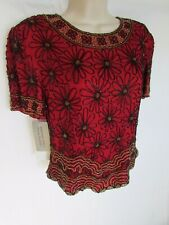 NWT ADRIANNA PAPELL M red black gold heavy beaded silk floral lined short sleeve