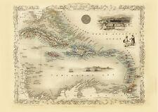 Caribbean Antique Illustrated Map Tallis 23.2 x 16.8 inch