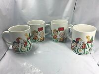 Set of 4 VTG Charlie Brown Peanuts Snoopy Merry Christmas Mug Cup 1977 Dupont FS