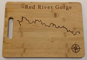 Red River Gorge Map Engraved Bamboo Cutting Board 9.75x13.75 inches Kentucky