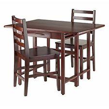 Winsome Wood 94368 Taylor 3-Pc Set Drop Leaf Table w/Ladder Back Chair Walnut